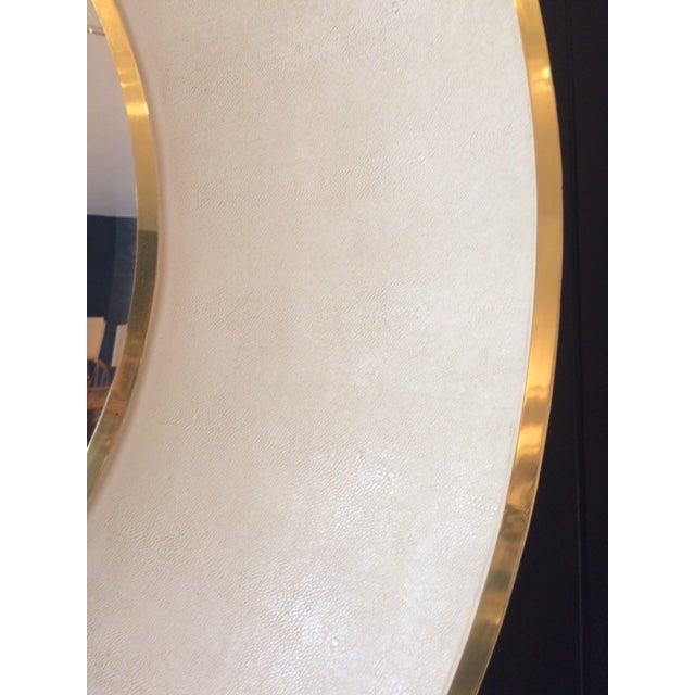 Metal Large Modern Round Shagreen-Style Mirror For Sale - Image 7 of 13