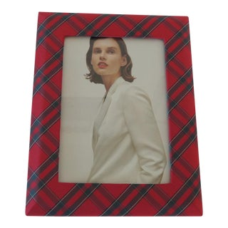 Red and Green Silk Ralph Lauren Picture Frame For Sale