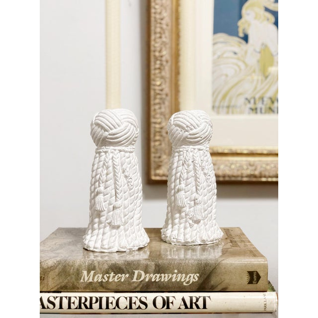 Plaster 1970s Vintage Rope & Tassel Candlesticks - a Pair For Sale - Image 7 of 9