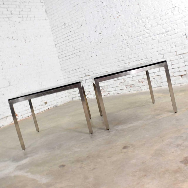 Pair Vintage Large Modern Square End Tables in Stainless Steel With Black Laminate Tops For Sale - Image 9 of 13