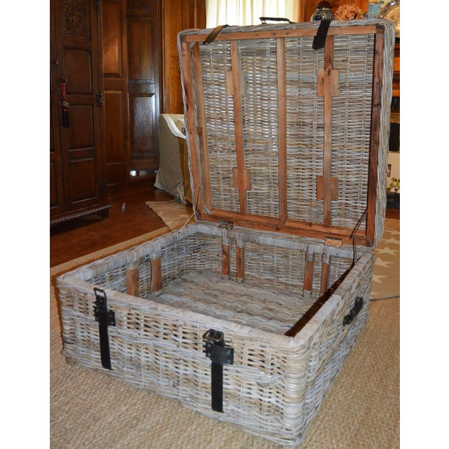 Boho Chic Woven Rattan Coffee Table Trunk For Sale In Houston - Image 6 of 13