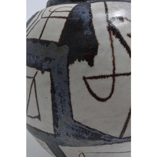 Ceramic Ovoid Vessel With Geometric Design in Style of Guido Gambone, 2011 For Sale - Image 7 of 9