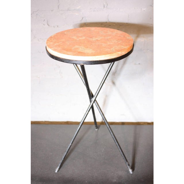 French Marble-Top Table with Iron Base - Image 2 of 7