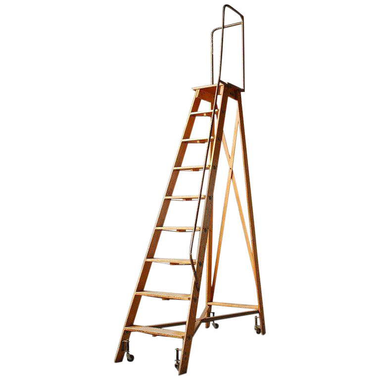 Charmant English Style Oak Library Ladder Staircase