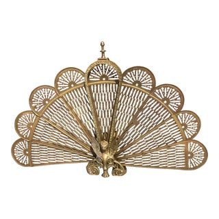 Antique Victorian Style Brass Peacock Fan Style Fireplace Screen For Sale