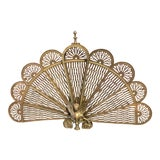 Image of Victorian Peacock Fan Style Fireplace Screen For Sale