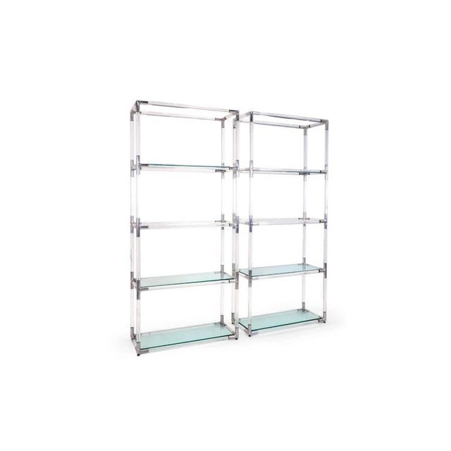 Pair tubular of Lucite storage shelf systems with polished aluminium joinery and glass shelves. The two lowest shelves are...