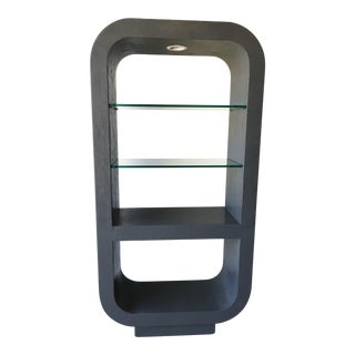 Karl Springer Style Etagere Rounded Lighted Display Case With Thick Glass Shelves For Sale