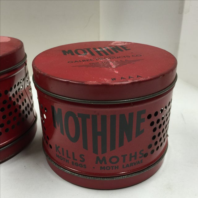 Rustic Vintage Red Mothine Tins - A Pair For Sale - Image 3 of 7