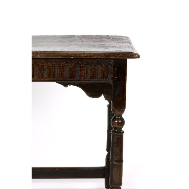 17th Century Joined Oak Side Table, Box Stretchers, Turned Oak Legs, English Circa 1680 For Sale - Image 4 of 10