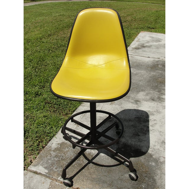 Mid-Century Herman Miller Yellow Bar Stool - Image 2 of 8