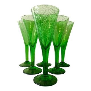 """La Verrerie De Biot 9.5"""" Green Chalice - Set of 6 For Sale"""