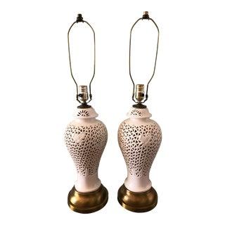 20th Century Chinoiserie Blanc De Chine Pierced Ginger Jar Lamps - a Pair