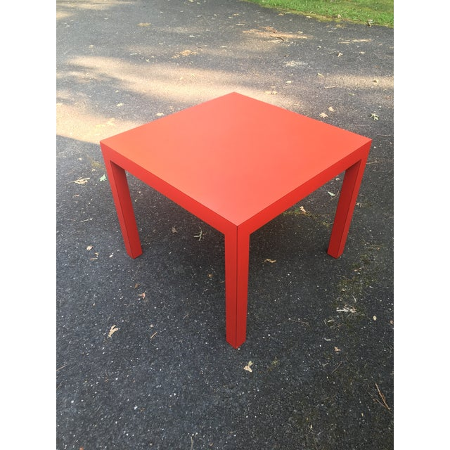 Mid-Century Modern 1970s Modern Tomato Red Parsons Dining Table For Sale - Image 3 of 5
