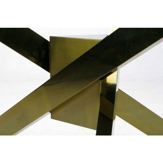 1970s Geometric Brass Tripodal Coffee Table For Sale - Image 4 of 4