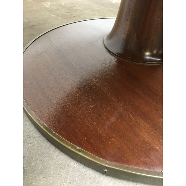 1940s T.H. Robsjohn-Gibbings Expandable Round Mahogany Dining Table For Sale - Image 5 of 13