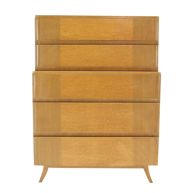 Mid Century Birch Wood High Chest on Splayed Legs w/ Birds Eye Maple For Sale