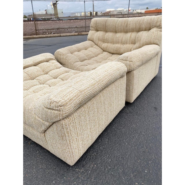 Milo Baughman Vintage Deep Biscuit Tommy Tufted Lounge Chair and Ottoman For Sale - Image 4 of 13