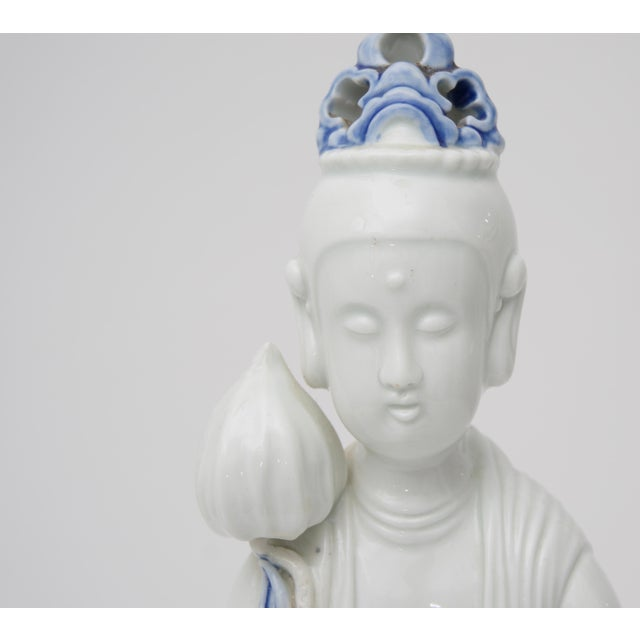 Art Deco Blanc De Chine Quan Yin Table Lamp For Sale - Image 3 of 10