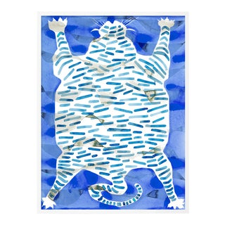 Tiger Rug Blue by Kate Roebuck in White Framed Paper, XS Art Print For Sale