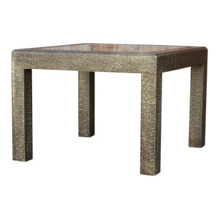 Beautiful Embossed Silver Table For Sale