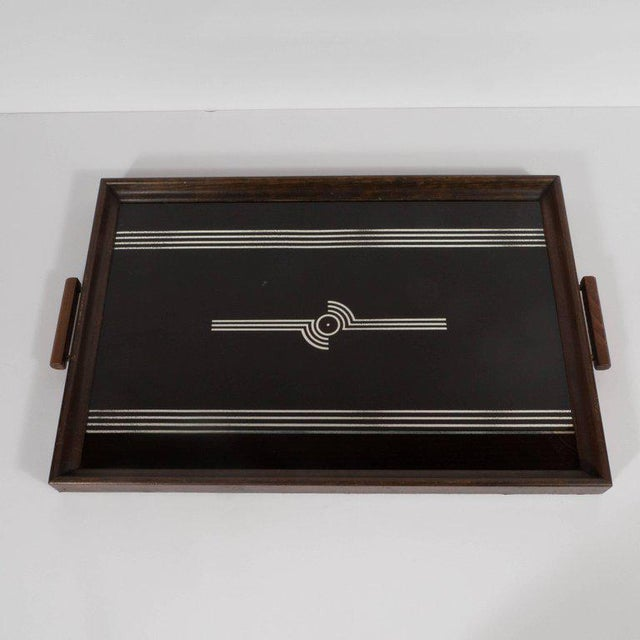 Art Deco Art Deco Machine Age Streamlined Sterling Silver Glass Tray, Walnut Perimeter For Sale - Image 3 of 11