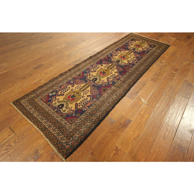 "Navy Blue Tribal Afghan Balouch Rug - 3'1"" x 9'2"" - Image 3 of 8"