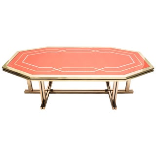 Unique Red Lacquer and Brass Maison Jansen Dining Table, 1970s For Sale