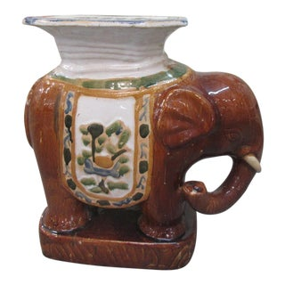 Glazed Rootbeer Elephant Garden Seat/Table For Sale