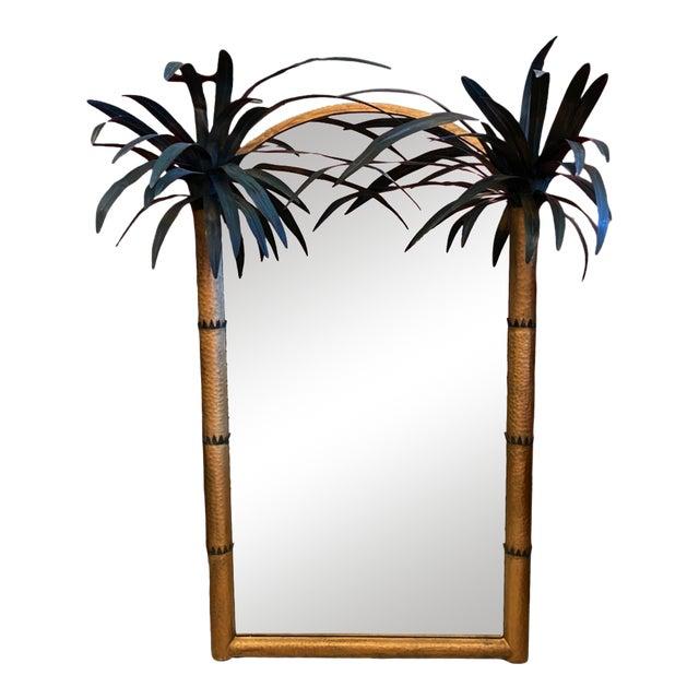 Vintage Palm Beach Regency Tole Palm Tree Framed Gilt Mirror For Sale