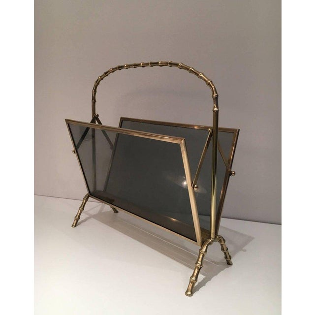 Faux Bamboo Bronze Magazine Rack by Maison Baguès, Circa 1940 - Image 10 of 11