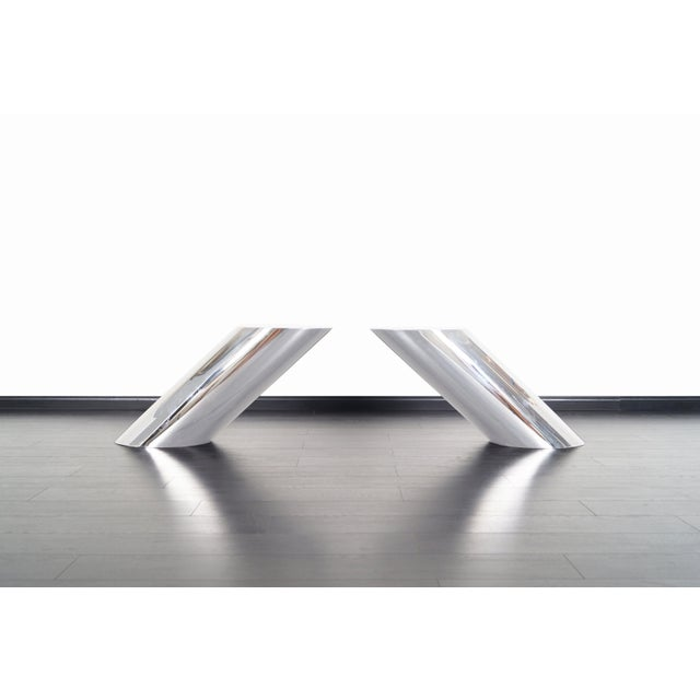 """Mid-Century Modern Brueton Polished Steel """"Zephyr"""" Table by J. Wade Beam - a Pair For Sale - Image 3 of 13"""