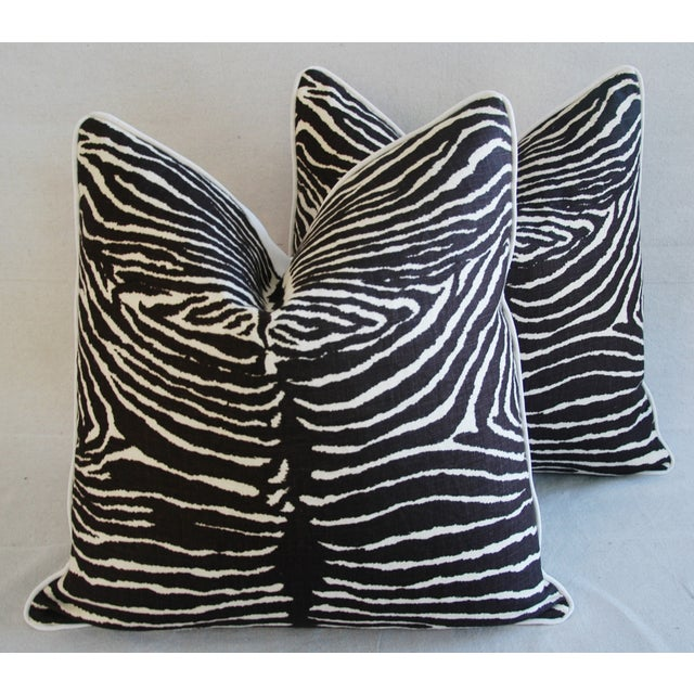"""Pair of large, custom-made pillows in a vintage/never used Brunschwig & Fils 100% printed linen fabric called """"Le Zebre""""..."""