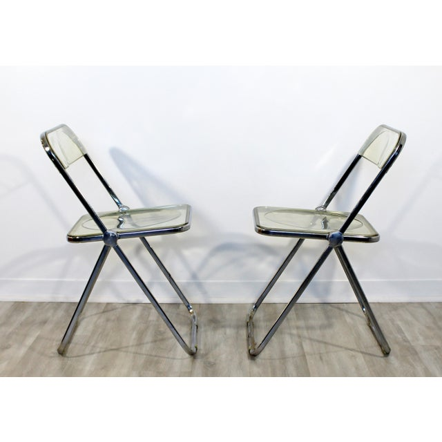 Metal 1960s Vintage Castelli Mid Century Modern Lucite Chrome Folding Side Chairs - Set of 4 For Sale - Image 7 of 12