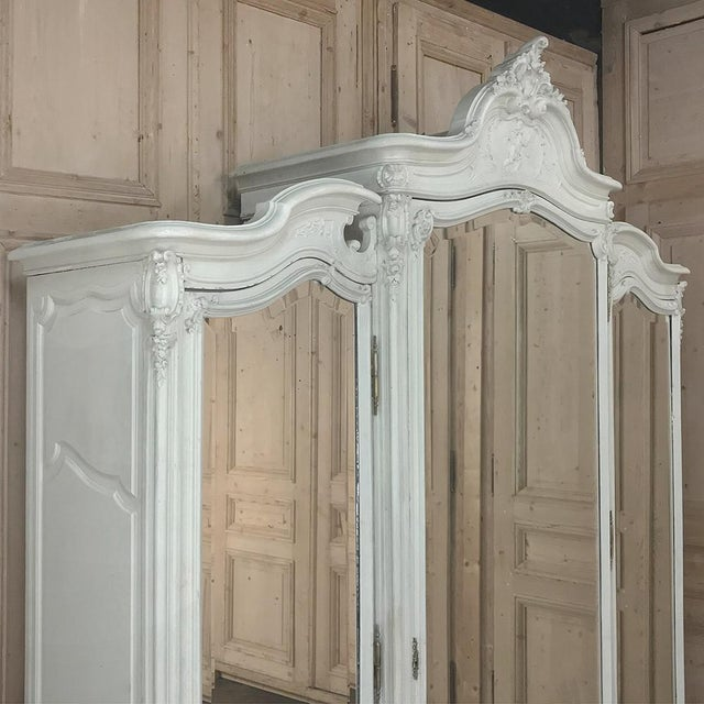 White 19th Century French Louis XV Painted Triple Armoire For Sale - Image 8 of 13