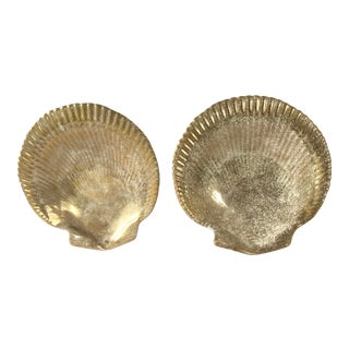 Mid Century Gold Finish Shell Plates- a Pair For Sale
