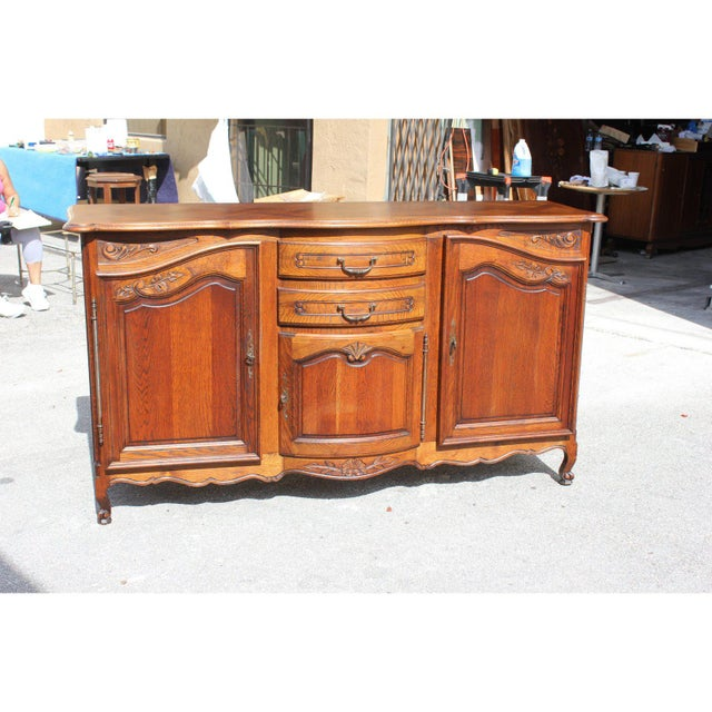 1900s French Country Solid Oak Sideboard / Buffet For Sale - Image 12 of 13