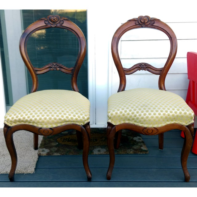 Antique Balloon Back Parlor Chairs - A Pair - Image 3 of 9 - Antique Balloon Back Parlor Chairs - A Pair Chairish