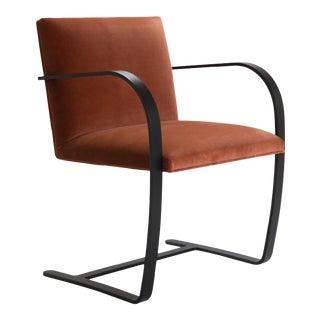 Brno Flat-Bar Chairs in Rust Velvet, Obsidian Matte Frame For Sale