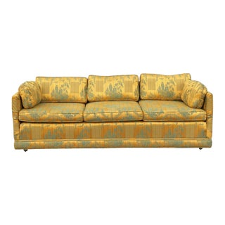 Vintage Century Chinoiserie Gold Yellow Upholstered Sofa For Sale