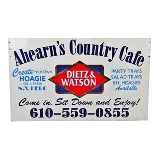 Vintage Dietz & Watson Double Sided Metal Country Cafe Sign For Sale