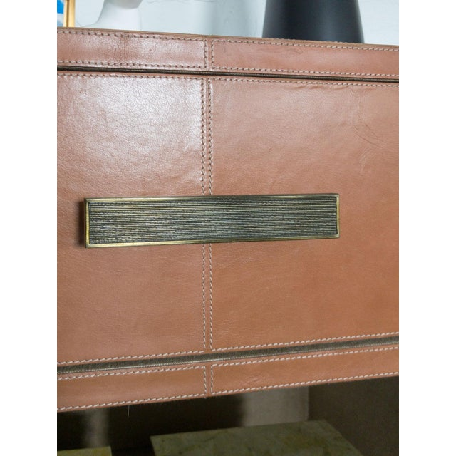 Made Goods Dante Double Nightstand in Aged Camel Leather For Sale - Image 9 of 13