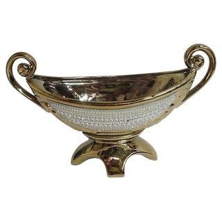 1980s Mid-Century Modern Footed Gold and Glass Bowl