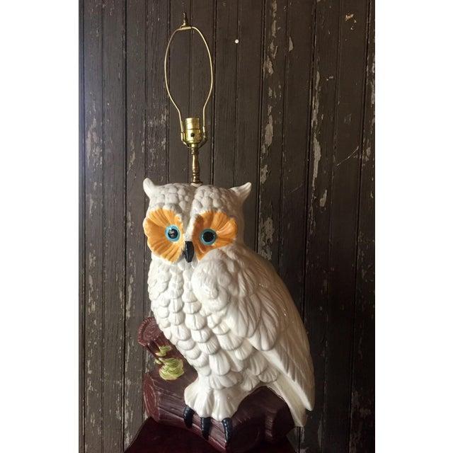 White Ceramic Owl Lamp - Image 3 of 4