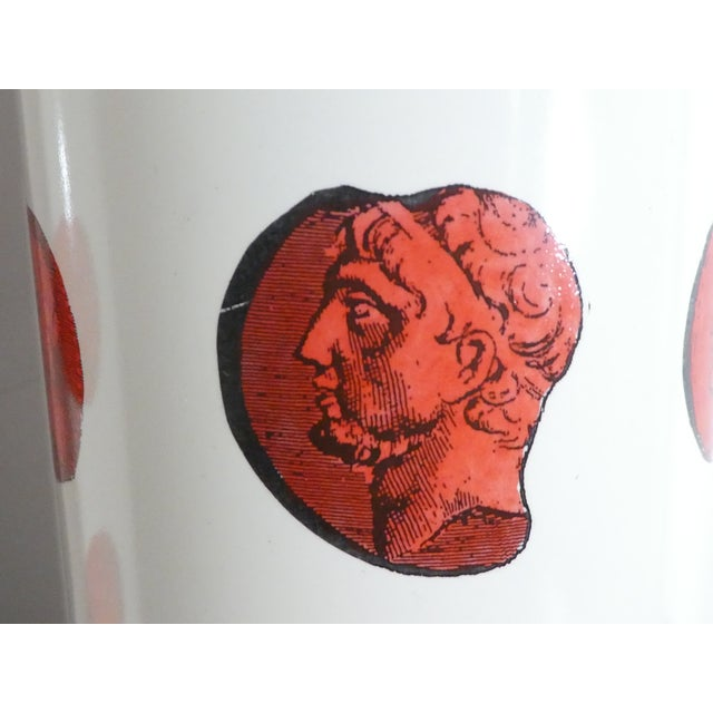 Mid 20th Century Vintage Italian Fornasetti Red Cameo Lamps - a Pair For Sale - Image 11 of 13