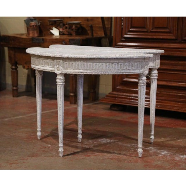 19th Century French Louis XVI Carved Painted Demilune Console Tables-a Pair For Sale In Dallas - Image 6 of 11
