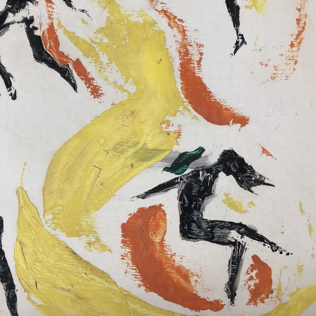 Original Vintage Female Nude Leaping Figures Abstract Painting For Sale - Image 4 of 7