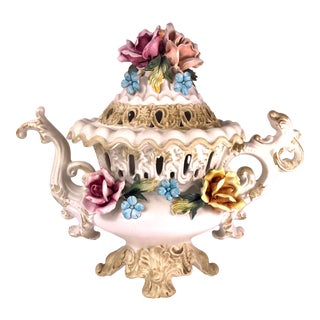Italian Capo DI Monte Porcelain Rose Covered Decorative Teapot For Sale