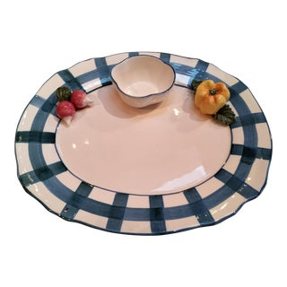 Italian Trompe L´oile Scalloped Serving Platter For Sale