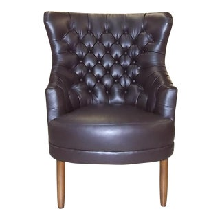 "O. Henry House Tufted Leather ""Lloyd"" Wing Chair"